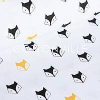 ✁ Отрезы бязи Лисички желто-черные, фото 1