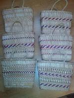 Сумка плетенная из рогоза цветная