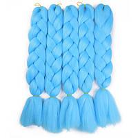 Канекалон для плетения кос голубой 1,3 метра