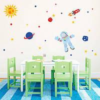Интерьерная виниловая наклейка в детскую Космонавт 2 (наборы детских наклеек на стены)