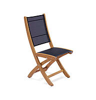 Складной стул без подлокотников Lekko из дерева тика черный, фото 1