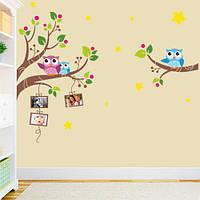 Интерьерная наклейка в детскую Совы с фоторамками (самоклеющаяся пленка, виниловые стикеры на стену в детскую)