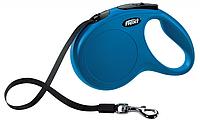 Поводок - Рулетка синий Флекси Нью Классик, лента, 5 метров  для собак до 25кг