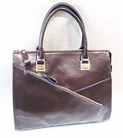 Женская кожаная сумка шоколадного цвета