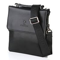 Чоловіча сумка Bradford 9827-1 чорна з штучної шкіри на плечовому ремені розміри 20 см х 22 см х 5 см, фото 1