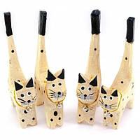 Подставка под кольца деревянная Кошки