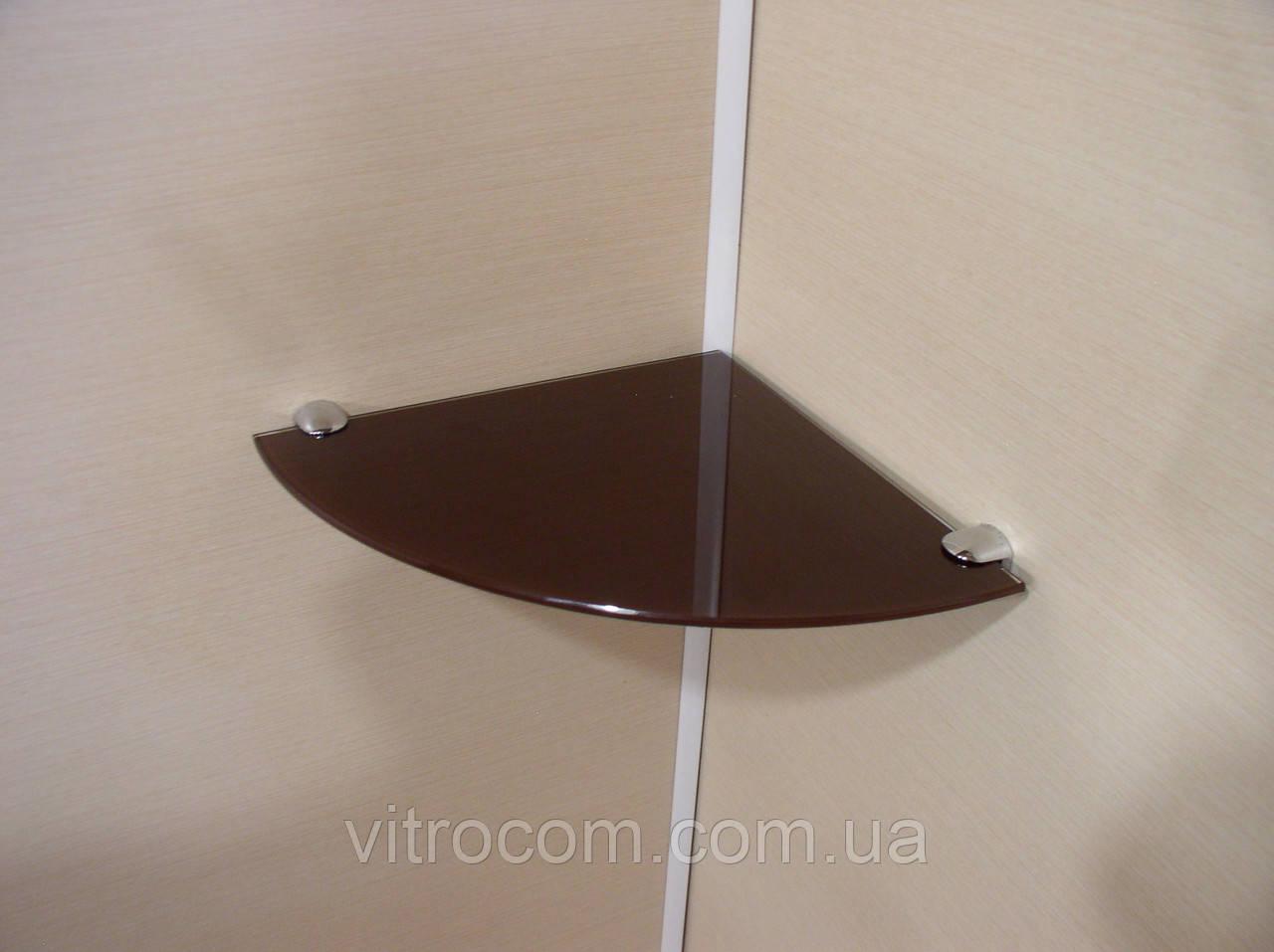 Полка стеклянная угловая 4 мм коричневая 25 х 25 см