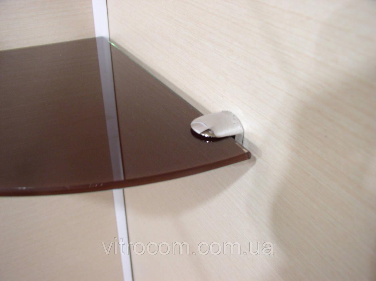 Полка стеклянная угловая 4 мм коричневая 30 х 30 см