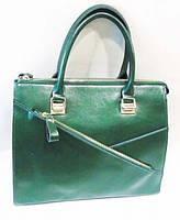 Женская кожаная сумка зеленого цвета