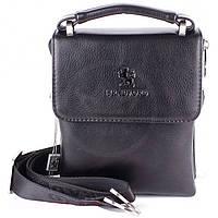 Мужская сумка Bradford 9827-4 черная маленькая из искусственной кожи размеры 16 см х 21 см х 5 см