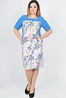 Яркое летнее платье большого размера, р-р 52-58, голубое