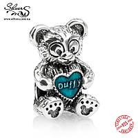 """Серебряная подвеска шарм Пандора (Pandora) """"Disney. Мишка Duffy"""" для браслета бусина"""