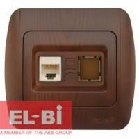 Розетка одинарная компьютерная RJ45 античный орех EL-BI Zirve Woodline 501-000201-247 501-000401-247