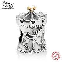 """Серебряная подвеска шарм Пандора (Pandora) """"Disney. Карусель"""" для браслета бусина"""