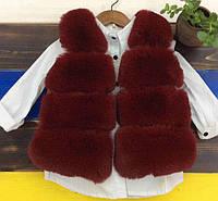 Оригинальная бордовая жилетка для девочки из меха кролика