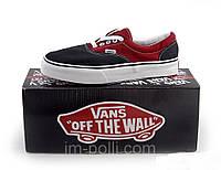 Мужские кеды Vans черно-красные, фото 1