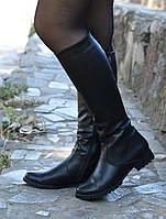 Сапоги кожаные на низком ходу