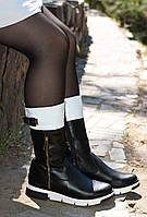 Ботинки кожаные женские черно-белые