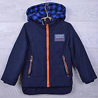 Куртка детская демисезонная A-1 для мальчиков. 110-134 см (5-9 лет). Темно-синяя. Оптом.