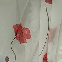 Турецкий шифон красные маки , фото 1