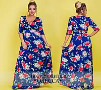 Нарядное длинное женское платье из шёлка в розах  с 50 по 60  размер