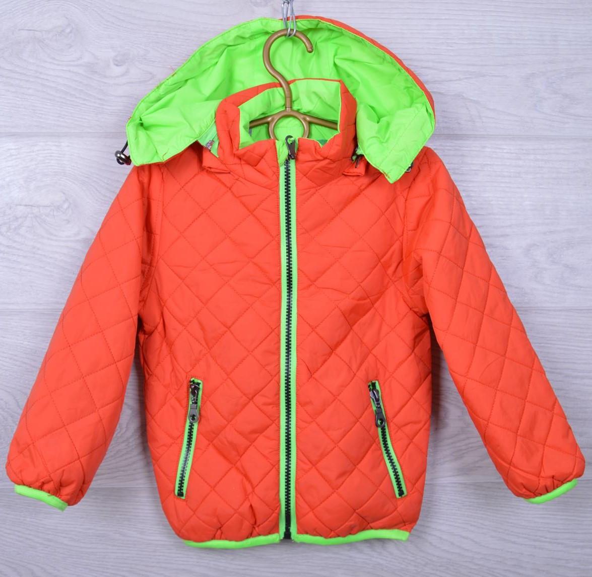 Куртка детская демисезонная 7-49 для мальчиков. 92-116 см (2-6 лет). Оранжевая. Оптом.