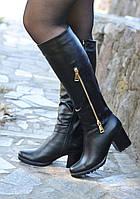 Сапоги кожаные  на каблуке с золотым замочком сбоку