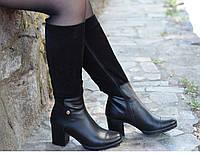 Сапоги кожаные комбинированные на каблуке