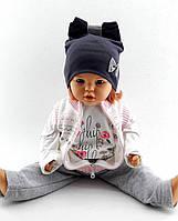 Трикотажная шапка двойная детская и подростковая оптом 52-58р