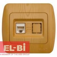 Розетка одинарная компьютерная RJ45 бук EL-BI Zirve Woodline 501-000701-247