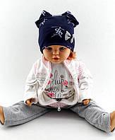 Трикотажная шапка двойная детская и подростковая  46-52р
