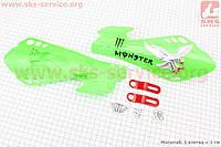 Защита для рук  комплект зеленый  с креплением тип 2 для мототехники