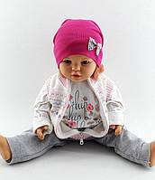 Трикотажная шапка двойная детская и подростковая оптом 48-55р