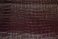 Кожа искусственная крокодил с напылением бордовая (кожвинил) на флисовой основе