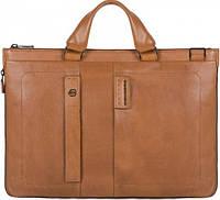 Крепкая кожаная сумка для мужчин Piquadro PULSE/Tobacco, CA4021P15S_CU коричневый