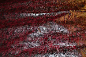Кожа искусственная крокодил бордово коричневая (кожвинил) на тканной основе