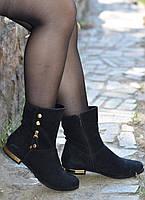 Ботинки замшевые с золотыми украшениями