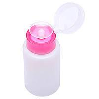 Бутылочка с помпой для жидкостей, 180 мл, розовая крышечка