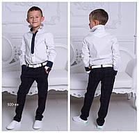 Школьная рубашка для мальчика белая с имитацией галстука 100% хлопок рост: от 122 до 158 см