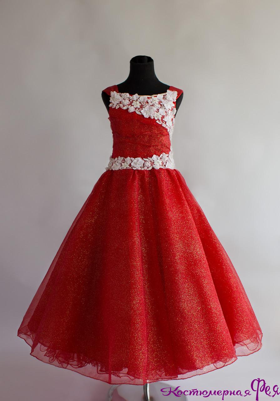 Детское пышное бальное платье (красное) (артикул 3/21)