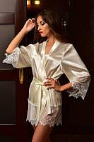 Атласные халаты с широким кружевом Шампань опт. Размеры от XS до XL