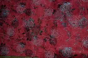 Замша искусственная бордовая принт розы на интерлоке