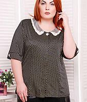 Женская черная блузка в горох больших размеров (Бэрриtn)