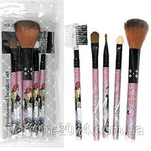 Набір базових кистей пензликів для макіяжу візажу стиліста у прозорому футлярі