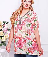 Женская блузка с розами больших размеров (Нитаtn)