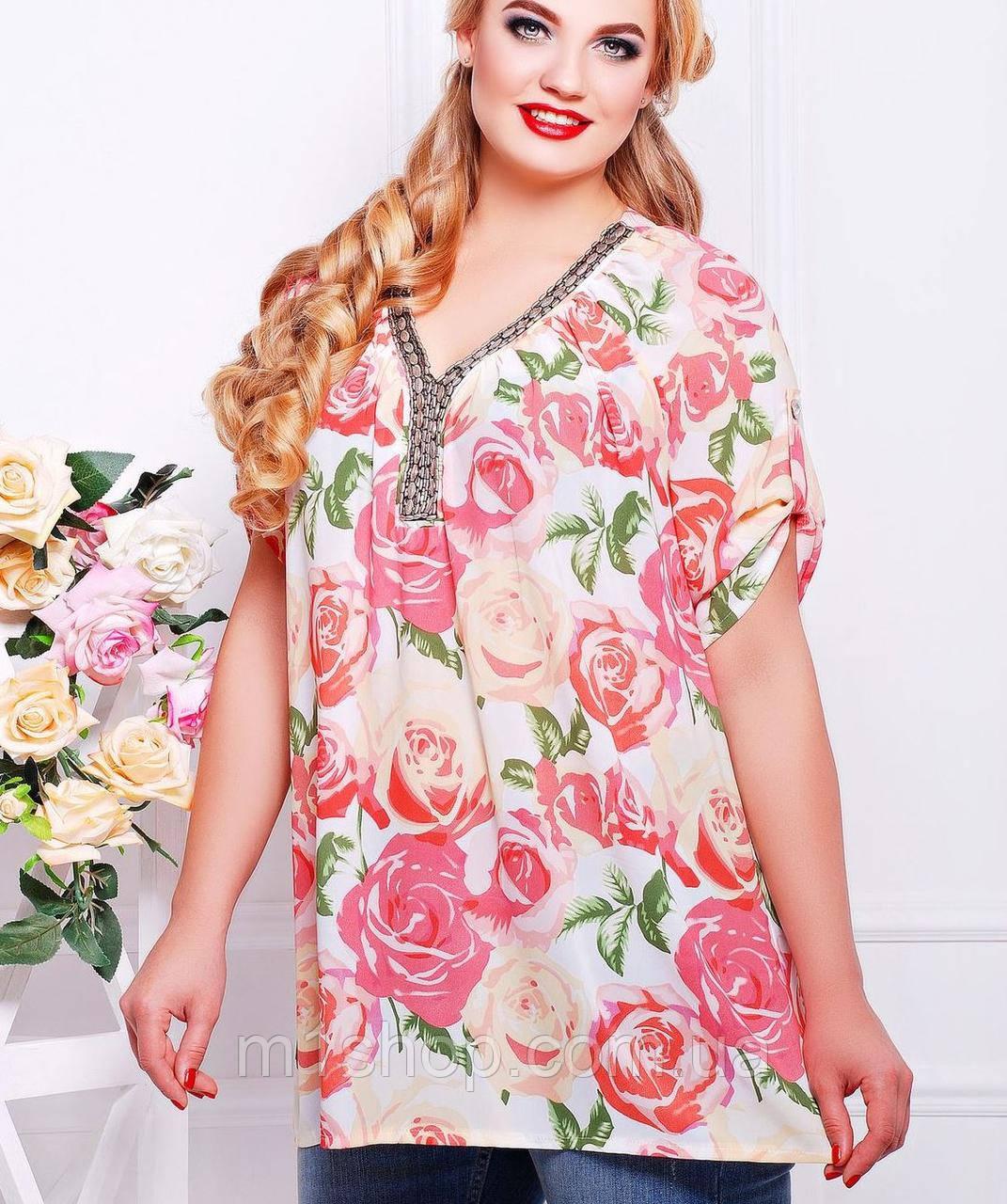 Женская блузка с розами больших размеров (Нитаtn) - « m1shop »женская одежда в Харькове