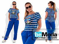 Удобный женский костюм больших размеров из футболки и брюк синий