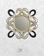 Круглое настенное зеркало в необычной раме