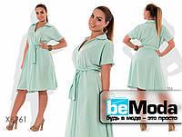 Модное женское платье больших размеров с рубашечным воротником и клешной юбкой бирюзовое