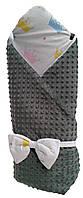 Конверт-одеяло демисезонное из плюшевой ткани, Точечки